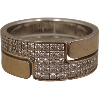 18K Dinh Van France Diamond Band Ring Seventies Collection