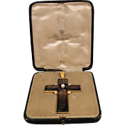 18K Victorian Mappin Webb England Smokey Quartz Pearl Cross Pendant in Box