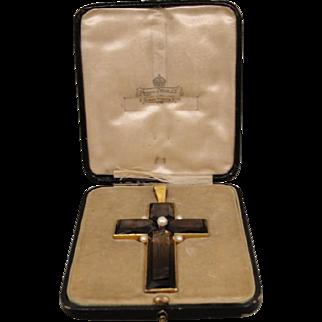18K Victorian Mappin Webb England Smokey Quartz Pearl Cross Pendant in Box