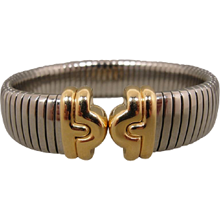 18K Bulgari BVLGARI Stainless Steel Tubogas Bracelet Cuff
