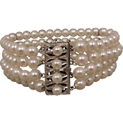 Vintage Cultured Pearl 4 Row Mikimoto-Style Bracelet Silver