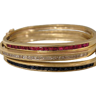 Three 3 Vintage Diamond Sapphire Ruby Bangle Bracelet