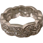 Platinum Art Deco Diamond Wedding Band Stackable Ring