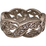 Platinum Art Deco Diamond Wedding Band Ring