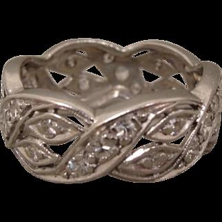 Platinum Art Deco Diamond Wedding Band Ring