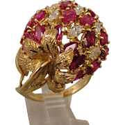 18K Ruby Diamond Strawberry Ring Buccellati Style