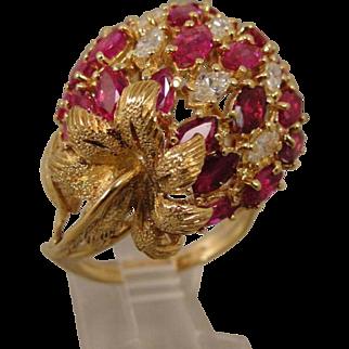 18K Ruby Diamond Strawberry Ring Buccellati Style
