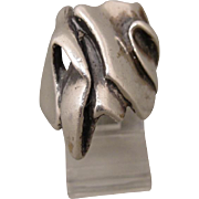 Handmade Art Jewelry Brutalist Sculptural Sterling Ring Signed Rina or Ruina