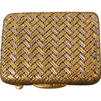 18K Woven Gold Pill Box European