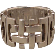 Sterling Woven Design Modernist Ring Band