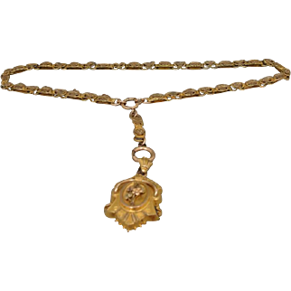 Victorian Gold-Filled Book Chain Locket Necklace