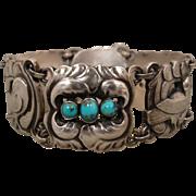 Vintage Rare Georg Jensen  Silver 830 Dove Turquoise Bracelet 1915-1927