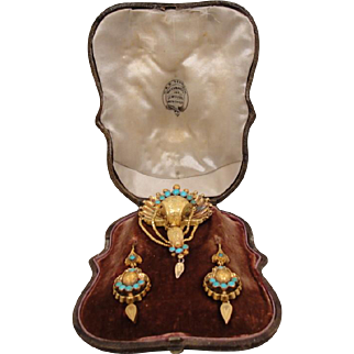England 15ct 14K Victorian Turquoise Pin Earrings in Box