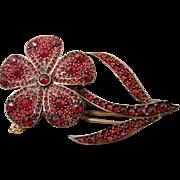 LARGE Victorian Bohemian Garnet Flower PIN