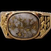 14K Gold in Quartz Nugget Vintage Man's Ring