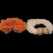 14K Vintage Pearl  OR Coral Torsade Bracelet