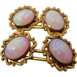 14k Art Nouveau Vintage Kohn Opal Cufflinks