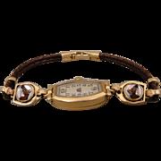 Antique Vintage 14K Reverse Crystal Horse Watch Bracelet