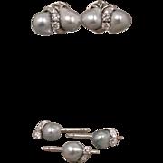 14K Vintage Custom Baroque Pearl Diamond Cufflinks & 3 Studs Set