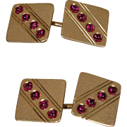 14K Retro Ruby Cufflinks Cuff Links Vintage