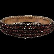 Victorian Bohemian Garnet 4 Row Bangle Bracelet