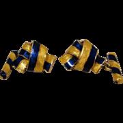 18K Yellow Blue Enamel Bow Cufflinks