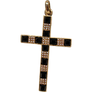 14K Victorian Onyx Pearl Cross Pendant Necklace
