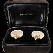 18K Angela Cummings Tiffany Co Mother of Pearl Earrings in Box