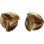 14k Retro 1940s-50s Fluted Clip-On Earrings