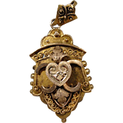 14K Small Victorian Locket Pendant