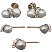 14K Vintage  WG Custom Baroque Pearl Diamond Cufflinks & 3 Studs Set