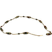 14K Vintage Harlequin Enamel Estate Chain Necklace