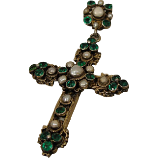 Antique Austro-Hungarian Silver Green Paste Cross Pendant Necklace Crucifix