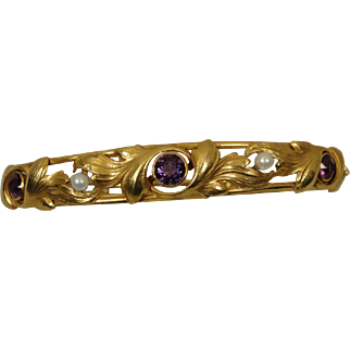 Art Nouveau 14K Amethyst Pearl Bangle Bracelet