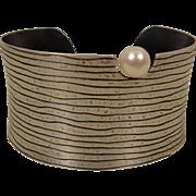 Handmade Sterling Pearl Art Jewelry Cuff Bracelet