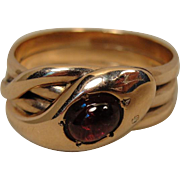 Victorian 9CT English Snake Garnet Ring Band