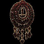 Victorian Bohemian Garnet LG Dangle PIN Brooch