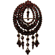 Victorian Bohemian Garnet LG Dangle PIN Brooch