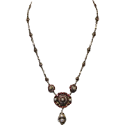 Antique-Austro-Hungarian-Garnet-Pearl-Silver-Necklace