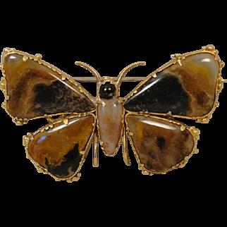 Georgian Antique Moss Agate Gold Butterfly Pin Brooch