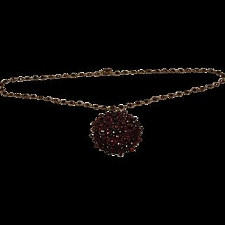 Victorian Bohemian Garnet Necklace Chain Pin