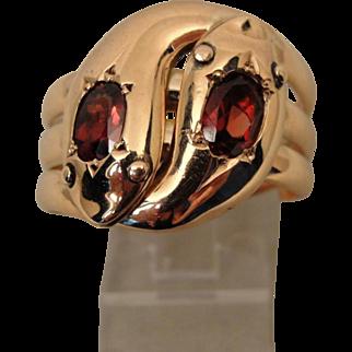 Victorian 9 Carat Large Double  Snake Ring Garnet Eyes