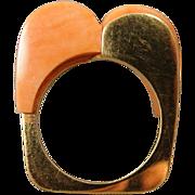 18K Modernist Nina Coral Sculptural Handmade Ring
