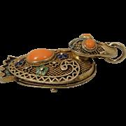 Vintage Chinese Export Filigree Enamel Coral Duck Pendant Locket Charm