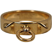 18K Rose Gold Hermes France Collier de Chien Ring Band 58 Estate