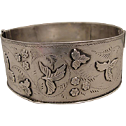 Victorian English Sterling Bangle Bracelet 1886