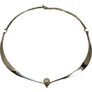 Modernist Ed Wiener Sterling Pearl Choker necklace