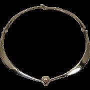 Modernist Ed Wiener Sterling Pearl Choker necklace