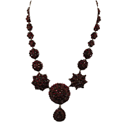 Large Victorian Bohemian Garnet Necklace
