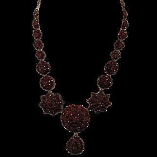 Large Victorian Bohemian Garnet Necklace